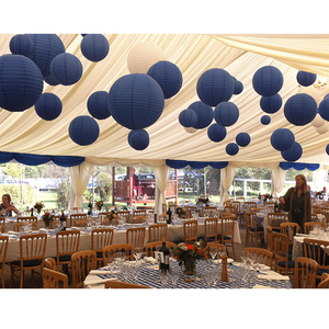 """Image 3 - 20 pcs 6"""" 12"""" Paper Lanterns Assort with Size Navy Blue Beige Chinese Paper Lantern lampion for Wedding Christmas Event Party"""
