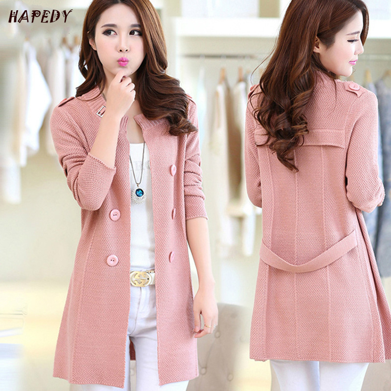 New Fashion Spring Autumn Women Sweater Cardigans Casual Warm Long Design Female Knitted Coat Cardigan Sweater Lady CA6877