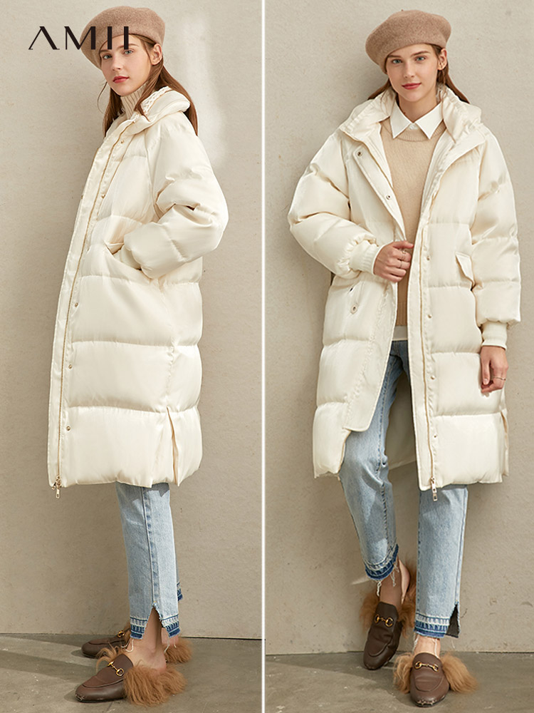 Amii Winter Women Fashion Warm Down Coat Female Elegant Fur Collar Zipper Thick Long Down Jacket Tops 11940490