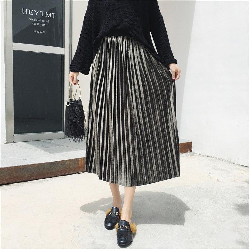 Skirts Womens Hight Waist  Spring Autumn Plus  Size   Casual Velvet Femme Long  Pleated Skirt