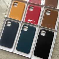 Funda de teléfono de cuero genuino Original para iPhone 11 Pro Max, carcasa trasera de lujo de cuero Real para iPhone 12 Pro Max 12 mini