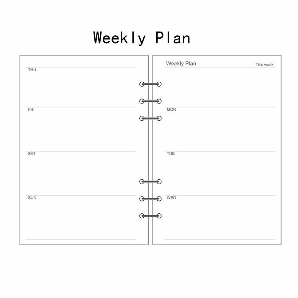 A5/A6/A7 Weekly Planner Diary Insert Refill Schedule Organiser Plan 45 Sheets Stationery Office School Supplies