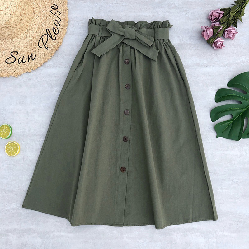 Elegant Skirts Pocket Stretched Waist-Buttons Elastic Female Solid-Color Womens Autumn