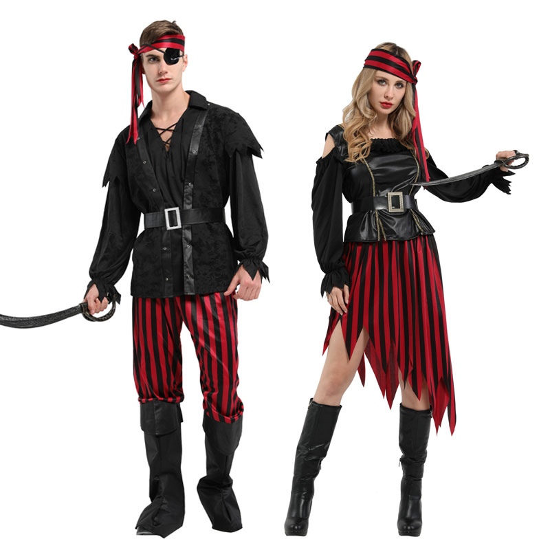 Umorden Halloween Purim Costumes Adult High Seas Buccaneer Pirate Costume For Men Women Couple Party Mardi Gras Fancy Dress