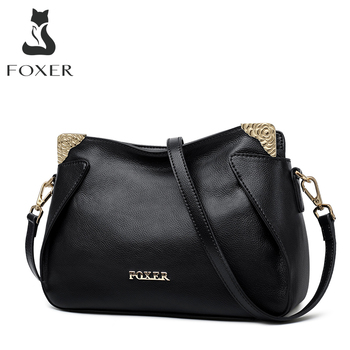 FOXER Brand Female Chic Crossbody Bag Women Genuine leather Shoulder Bag Lady Fashion Style Casual Bags Female Cross-body Bags цена 2017