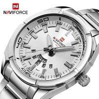 NAVIFORCE-Reloj informal de cuarzo totalmente de acero para hombre, cronógrafo deportivo resistente al agua con fecha, pulsera militar, mejor marca, masculino