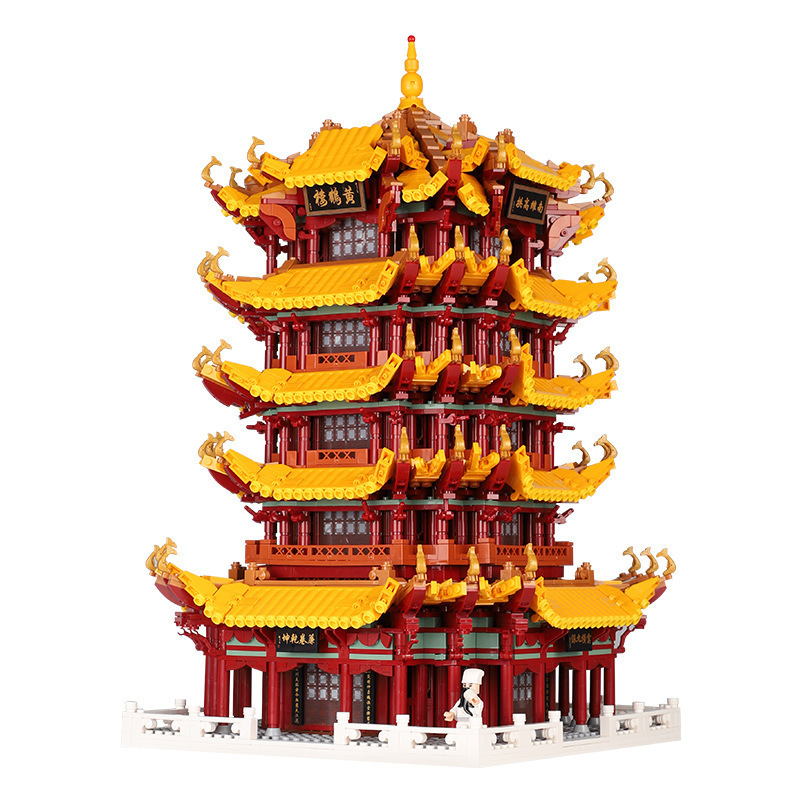 In stock XB01024 6794Pcs China Street View Series Yellow Crane Tower Building Blocks Bricks Kids Toys Christmas Gift