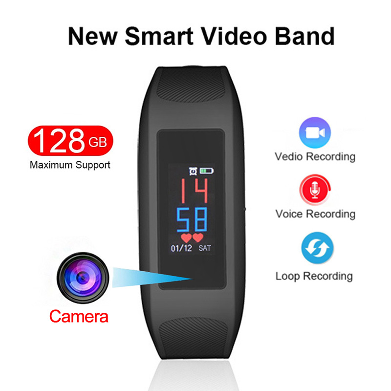 1080P HD enregistreur de caméra vidéo bracelet intelligent montre son enregistrement vocal Sport moniteur de fréquence cardiaque