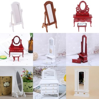 Mini Doll Furniture Miniature Wood Dollhouse Bedroom Dresser Desk Mirror Play Model Accessories Toys for Children Christmas image