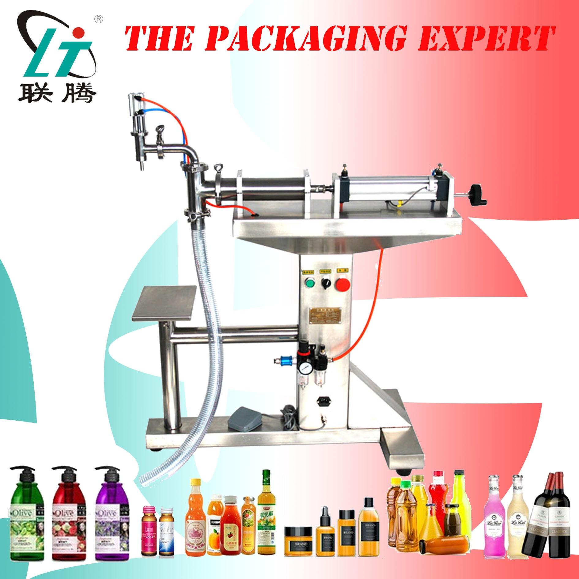 Liquid Filler Filling Machine With Standing Table Water Milk Detergent Chemical Juice Oil Eliquid Semi Auto Pneumatic Piston