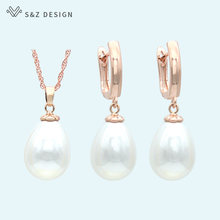 S&Z DESIGN Fashion Imitation Pearls Water Drop Earrings Jewelry Sets 585 Rose Gold White Gold For Women Wedding Party Jewelry(China)
