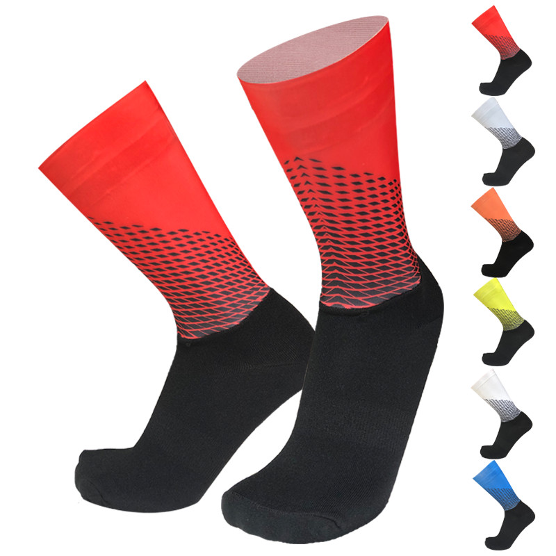 New Bike Team Aero Socks Seamless Silicone Anti Slip Cycling Socks Road Bicycle Socks Outdoor Racing Bike Compression Sport Sock