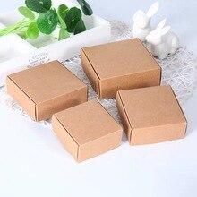 Подарочная коробка из крафтовой бумаги «сделай сам», 10 шт./лот, маленькая Коробка для мыла из коричневой/черной бумаги, картонная мини-короб...