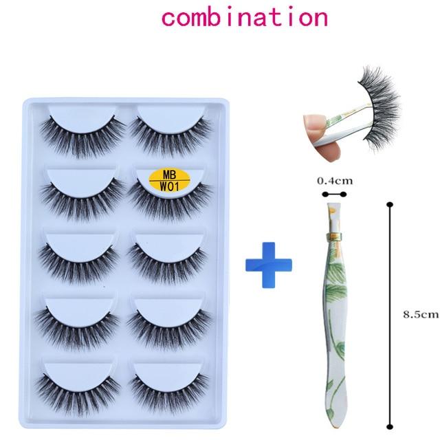 NEW 5 pairs Mink Eyelashes Set 3D 100% False Lashes Makeup Eyelash Extension faux cils Natural fluffy Volume Soft Fake Eye Lashe 1