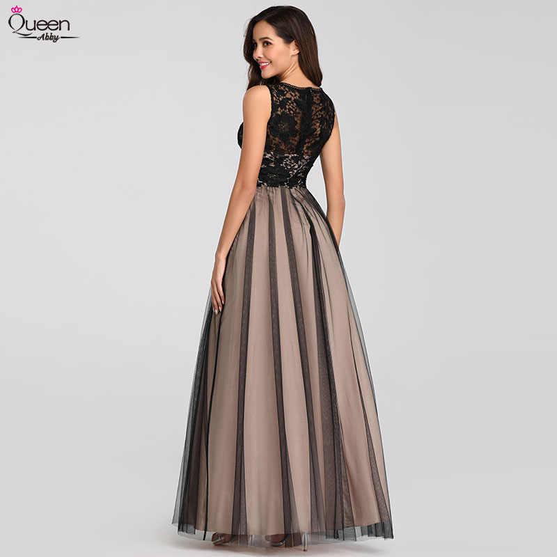 Eleganckie suknie wieczorowe długa królowa Abby-line O-Neck tiul bez rękawów koronkowe suknie ślubne dla gości seksowne sukienki na przyjęcie Plus rozmiar