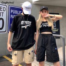 BF-pantalones cortos de estilo Safari para mujer, Encaje Vintage de cintura elástica, holgados, estilo Hip-hop, Harajuku, para verano