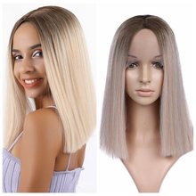 FAVE Mixed Brown Blonde Straight 1.8*9 Lace Front Short Bob Middle Part Syntheti