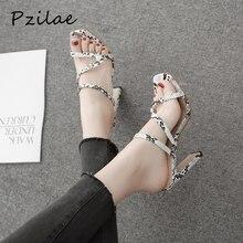 Pzilae/; летние женские сандалии-гладиаторы; обувь из искусственной кожи со змеиным принтом; женские шлепанцы на высоком каблуке с открытым носком; женские туфли-лодочки без задника