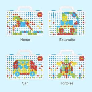 Image 3 - 어린이 도구 세트 완구 어린이 드릴 퍼즐 장난감 전기 드릴 완구 스크류 완구 소년 키즈 드릴 세트