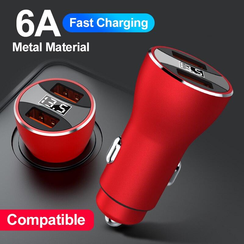 6A зарядных порта USB для автомобиля зарядное устройство Quick Charge 3,0 быстрой зарядки для iPhone 12 Pro Xiaomi Huawei LED мобильный телефон автомобильное заря...