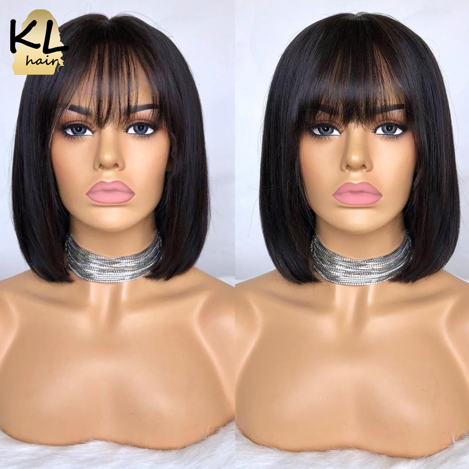 KL Hair 13*4 Lace Front Human Hair Wigs With Bangs Brazilian Remy Hair Straight Short Bob Wigs Glueless Ombre Color Bob Wigs