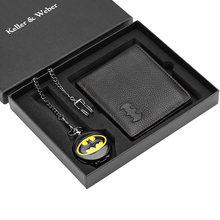 Мужские карманные часы набор с бумажником модные кварцевые подвеской