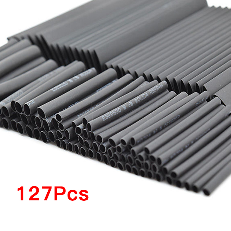 127 Pcs Assorted Heat Shrink Tubing Tube Set 2:1 Polyolefin Black Red Sleeving Wrap Wire Cable Kit