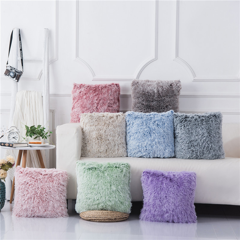 Solid Plush Cushion Cover 43x43 Soft Fluffy Pillow Covers Decorative Pillows For Sofa Couch Pink Gray Pillowcase Home Decor