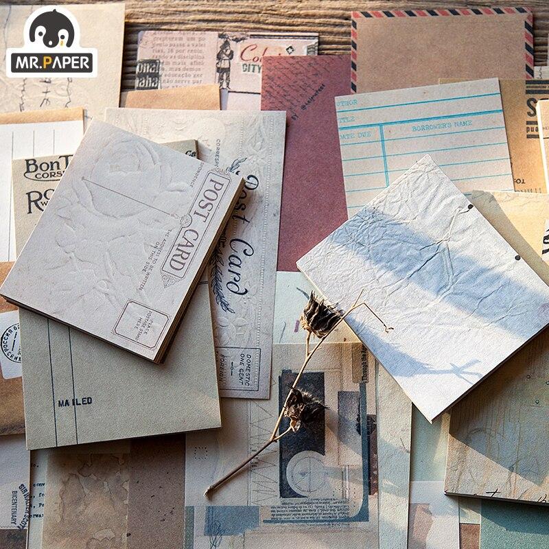 Mr.paper 60pcs/lot Antique Collage Light Paper Kraft Card Journaling Bullet Scrapbooking Material Paper Fresh Words LOMO Cards 2