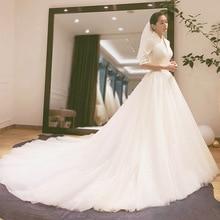 2020 2020 De Nieuwe Bruid Belangrijkste Garen Hepburn Wind Jurk Franse Lange Mouw Satijnen Gecontracteerd Show Dunne Trailing Qiu Dong vrouwelijke