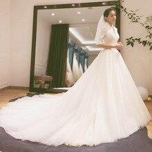 2020 2020 la nouvelle mariée Main fil Hepburn vent robe français à manches longues Satin contracté montrer mince traînant Qiu Dong femelle