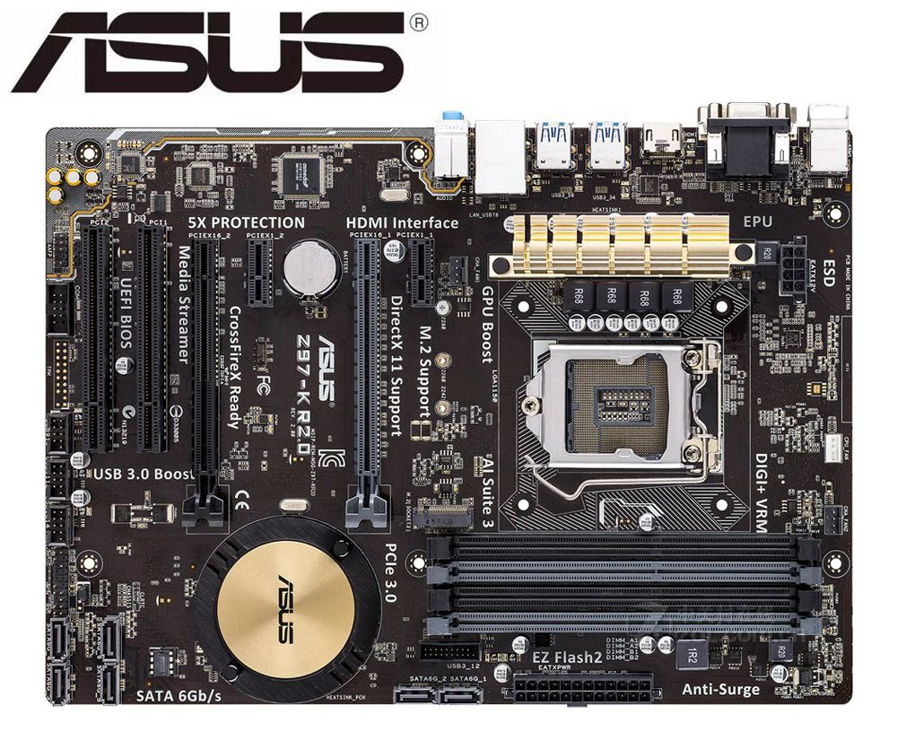 ASUS Z97-K R2.0 Original MAINBOARD Boards LGA 1150 DDR3 I7 I5 I3 CPU 32G SATA3 USB2.0 UBS3.0 Z97 USED Desktop Motherboard
