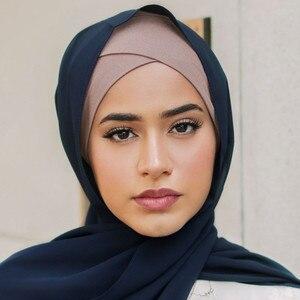 2020 fashion lady forehead cross muslim inner hijabs pure cotton Islamic wrap head turbans for women ready to wear hijab cap