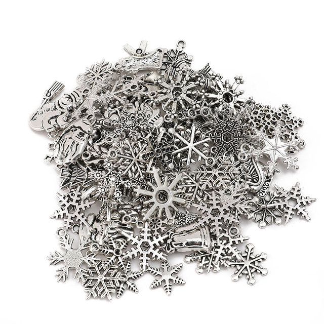 Mix Size Antique Silver Santa Claus Snowflake Charms  Zinc Alloy Pendant For Jewelry Making