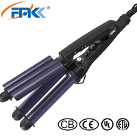 FMK Hair Curler Triple Curling Iron Tourmaline Ceramic Plate Hair Curler Hair Waver Styling Tool Hair Styler Frizz Crimping Tool