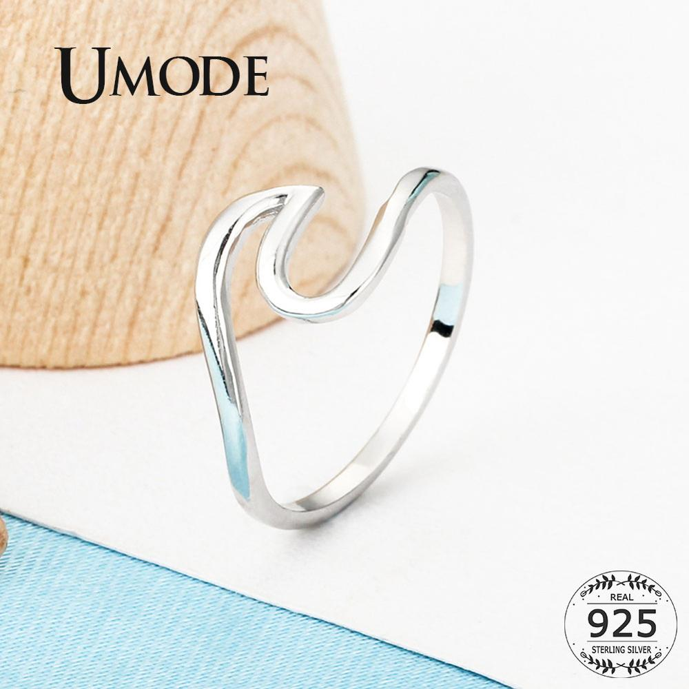 UMODE Boho Wave Rings 925 Sterling Silver Rings For Women Gifts Party Wedding Fine Jewelry Accessories 925 Para Mujer LR0758