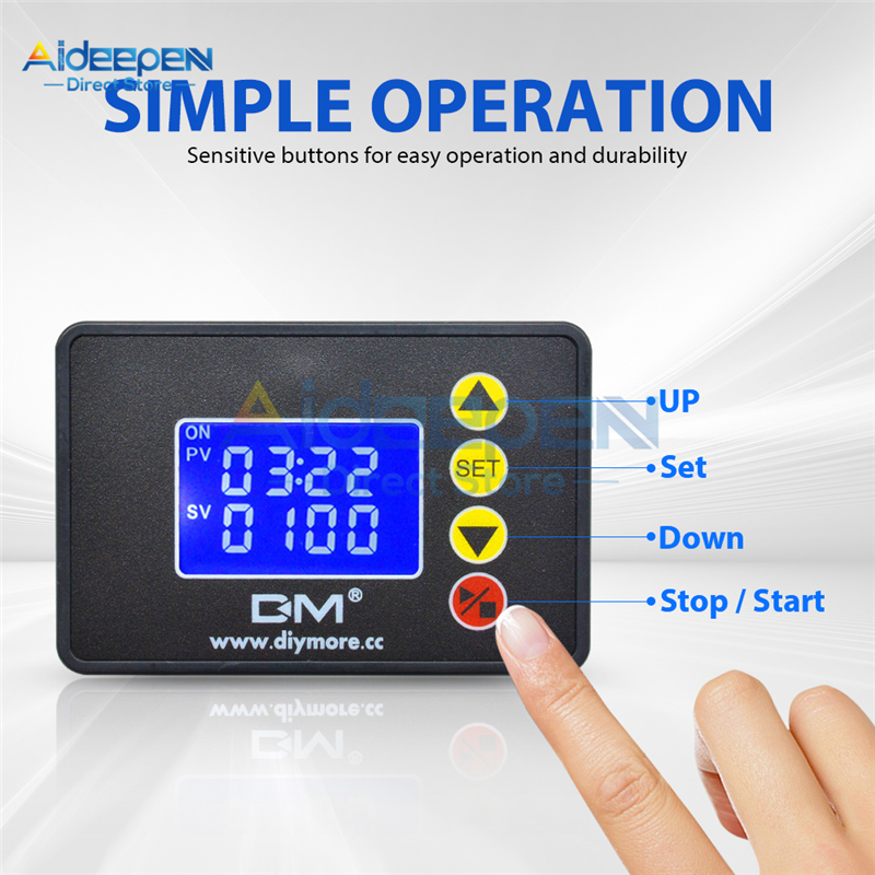 AC 110 220V DC 12V 24V 1.37 inch LCD Digital Display Microcomputer Time Controller Timer 00:00 99:59 0000 9999S Control Module|Timers| |  - title=