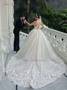 Image 2 - Julia Kui Halter Neckline Luxury Ball Gown Wedding Dress With Chapel Button Closure Wedding Gown