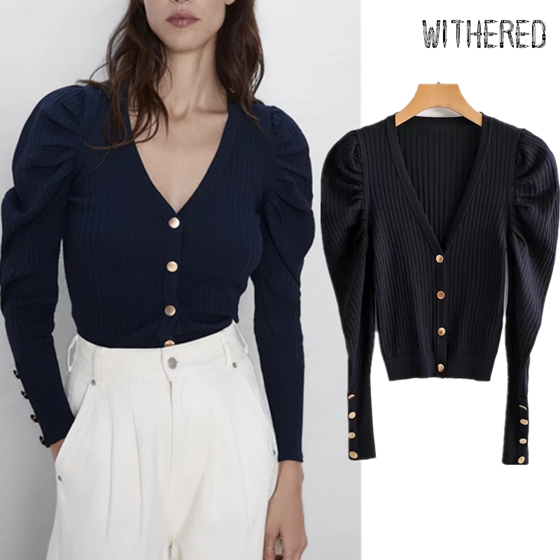 Withered 2019 New Autumn Sweaters Cardigans Women England Vintage Puff Sleeve Single Breasted Navy Knitted Cardigan Women Tops