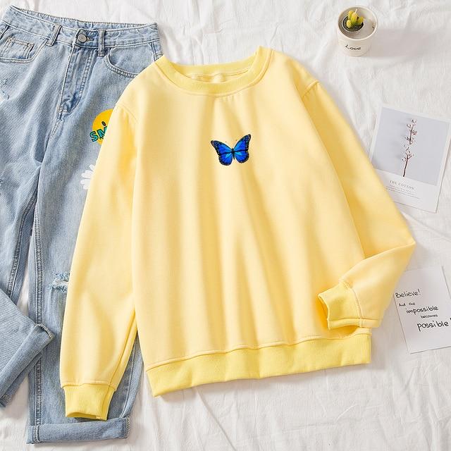 Oversized Sweatshirt Women School Thickening Hot Royal Blue Butterfly Print Round Neck Solid Hoodie Female Aesthetic Sweatshirts 5