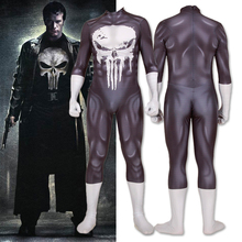 Wholesale The Punisher Frank Castle 1pcs Cosplay Costume Superhero Zentai Adults Kids Black Bodysuit Lycra Halloween Jumpsuits
