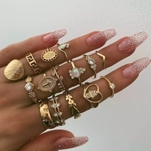 Bohemian Cross-Border Retro Beauty Head Gold Coin Cross Patterned 15pcs/lot Loving Rings rings for women Party ring set