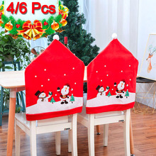 4/6pcs Christmas Chair Cover Dinner Back Covers Decorations Navidad for Home Table New Year Xmas