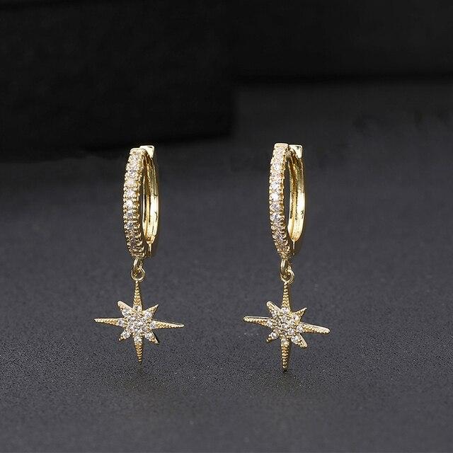 Yeni moda yıldız altın küpe en kaliteli cz kristal klasik Charm altın küpe kadınlar kızlar için takı hediye 2020