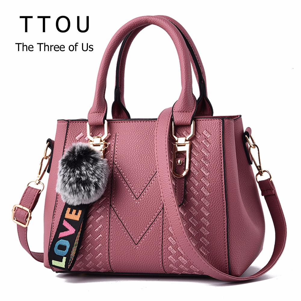 Causal Women Office Handbag High Quality Shouldle Messenger With Fur Ball For Female Design PU Leather Fashion Ladies Handbags