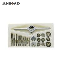 AI-ROAD 30 pçs/set métrica precisa nc parafuso tap & morrer conjunto de rosca externa corte tocando kit ferramenta mão com parafuso hss plugues torneiras