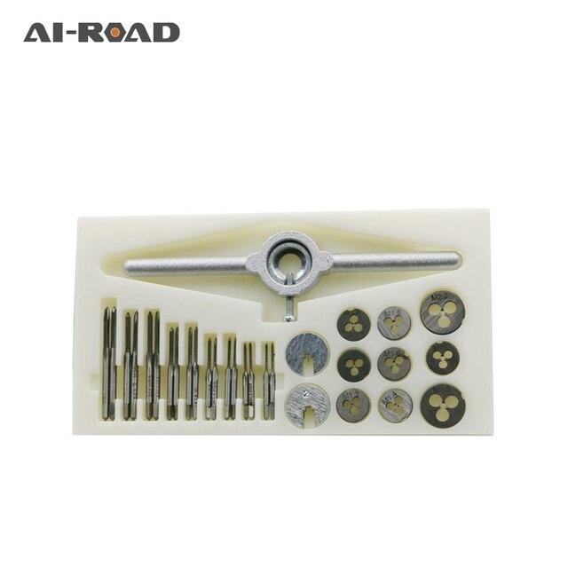 AI-ROAD 30 sztuk/zestaw precyzyjne metryczne NC zestaw gwintów i matryc gwint zewnętrzny gwintowanie zestaw narzędzi ręcznych z HSS śruby korki krany