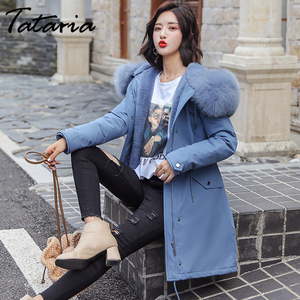 Image 3 - Tataria Womens Down Jacket Sustans Winter Womens Parks Women Winter Coats with Fur Collar Female Thicken Long Parks Jacket