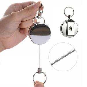 Resilience Steel Wire Rope Elastic Key Chain Recoils Retractable Keychain Alarm Key Ring Anti Lost Keychain Badge Reel Belt Clip(China)