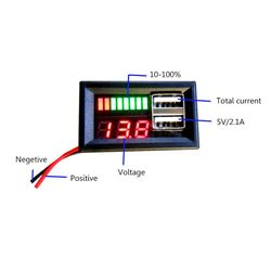 2021 New 12V Digital Car Motorcycle Voltmeter Voltage Battery Panel Meter w USB 5V Output